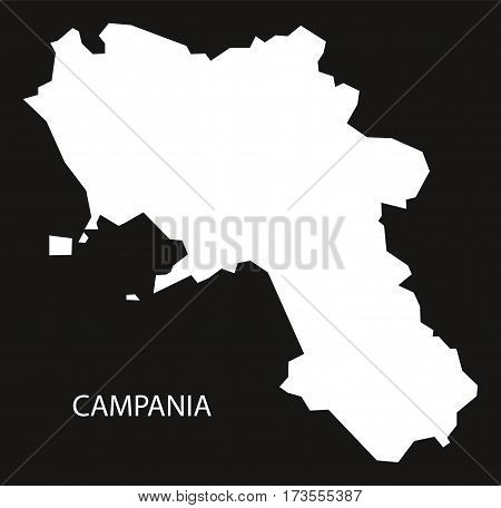 Campania Italy Map black inverted silhouette black and white