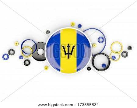 Round Flag Of Barbados With Circles Pattern