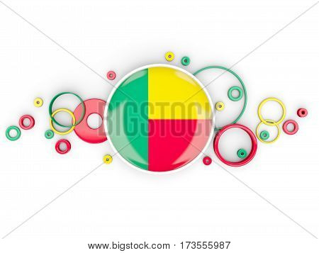 Round Flag Of Benin With Circles Pattern