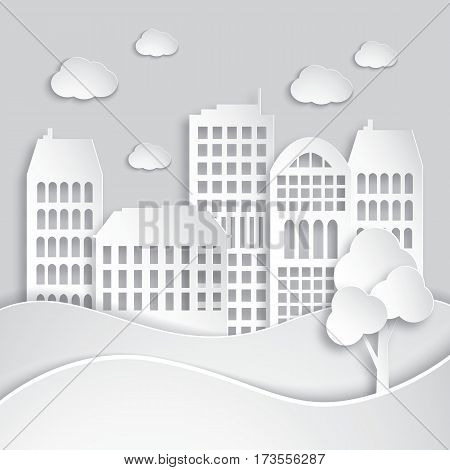 Abstract white houses made of paper. Modern city skyline. Paper art style. Vector Illustration