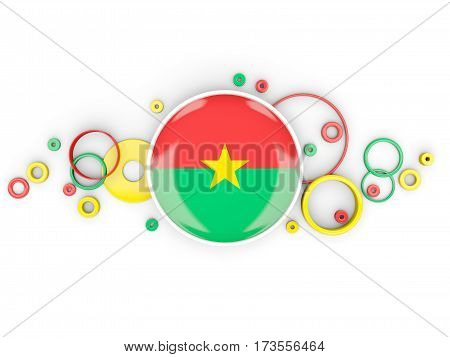 Round Flag Of Burkina Faso With Circles Pattern