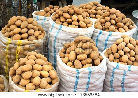 Sacks of potatoes for sale in the Local town market in Sheki Azerbaijan
