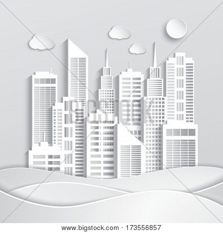 Abstract white skyscrapers made of paper. Modern city. Vector Illustration