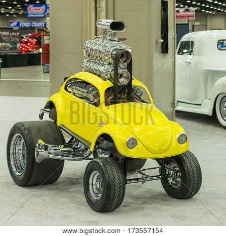 DETROIT MI/USA - February 26 2017: A 1970s MPC Zinger Volkswagen Beetle car on display at the Detroit Autorama, a showcase of custom and restored cars. Builder: Chuck Miller