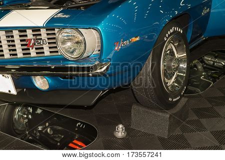 DETROIT MI/USA - February 26 2017: A 1969 Chevrolet Camaro Z/28 restoration closeup on display at the Detroit Autorama, a showcase of custom and restored cars.