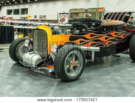 DETROIT MI/USA - February 26 2017: A 1929 Ford roadster interpretation on display at the Detroit Autorama, a showcase of custom and restored cars.