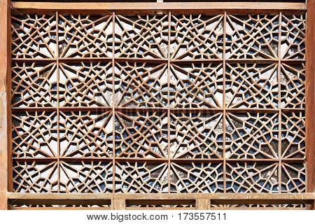 Sheki Azerbaijan - September 13 2016: Detail of decorations on the facade of Palace of Sheki Khans. It was a summer residence of Shaki Khans. It was built in 18th century. Sheki Azerbaijan
