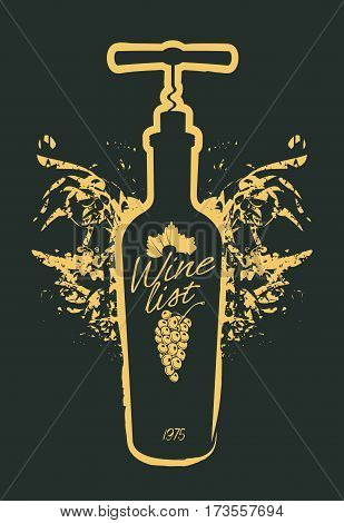 Wine icon set isolated on black background. Design template for label banner postcard logo. Wine bottle vector.