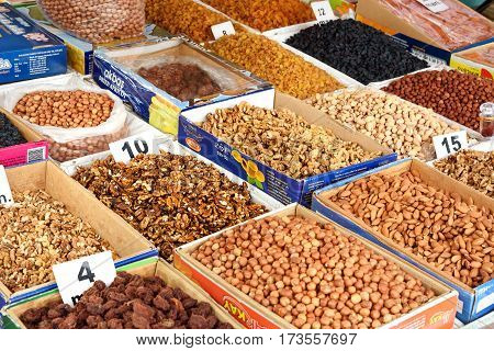 Sheki Azerbaijan - September 13 2016: Dried fruit and nuts at the Local town market. Sheki is small city situated in northern Azerbaijan in the southern part of the Greater Caucasus mountain range.