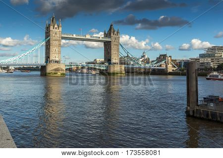 LONDON, ENGLAND - JUNE 15 2016: Tower Bridge in London in the late afternoon, England, Great Britain