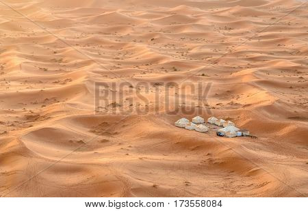 Merzouga Morocco - Jan 6 2017: Luxury desert Camp in Erg Chebbi dunes in Sahara Desert near Merzouga