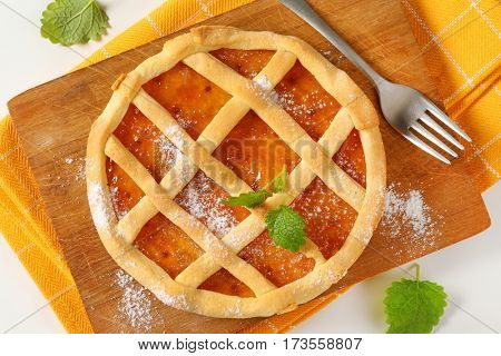 Crostata with marmalade or apricot jam filling