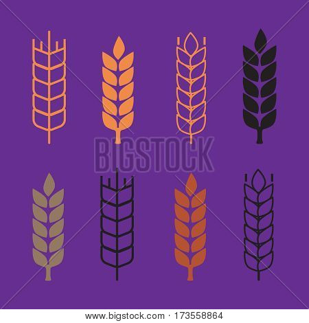 Set of simple wheat ears icons and wheat design elements