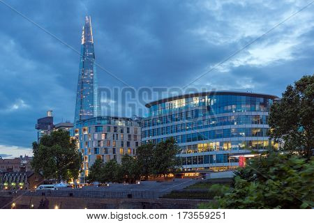LONDON, ENGLAND - JUNE 15 2016: Night photo of The Shard skyscraper, London, England, Great Britain