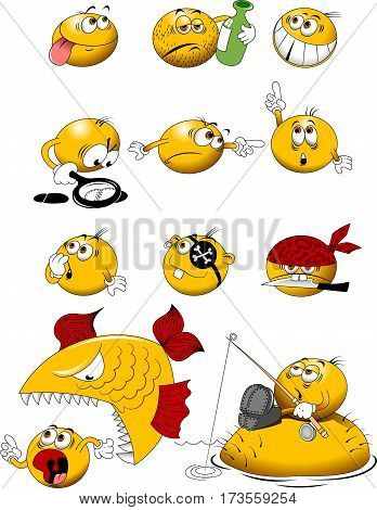 yellow balls with placards in their hands vector and illustration
