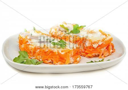 vegetable roll with fish,mashed potatoes,carrots and mayonnaise