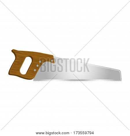 realistic silhouette color of handsaw tool vector illustration