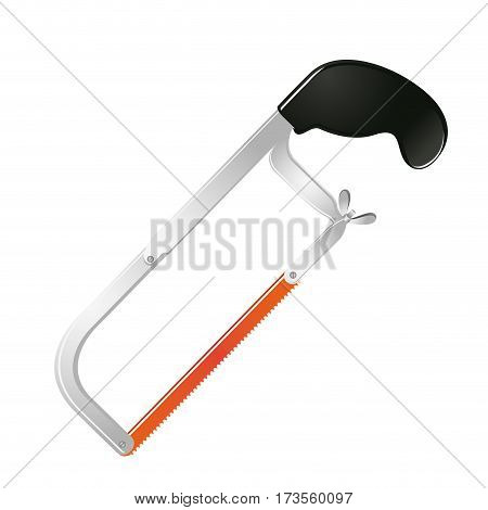 realistic silhouette color of hacksaw tool vector illustration