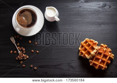 Homemade Belgian Waffles, White Ceramic Cup Of Coffee, Milk, Tea