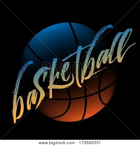 Streetball and basketball logo with lettering and ball in modern style - stock vector