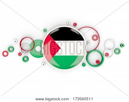Round Flag Of Palestinian Territory With Circles Pattern