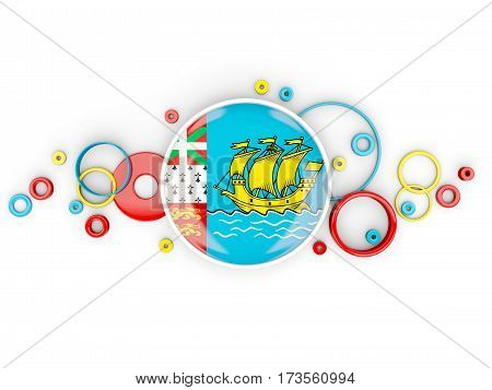 Round Flag Of Saint Pierre And Miquelon With Circles Pattern