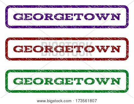 Georgetown watermark stamp. Text tag inside rounded rectangle frame with grunge design style. Vector variants are indigo blue red green ink colors. Rubber seal stamp with scratched texture.