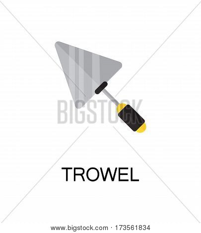 Trowel flat icon. Single high quality color element for web design or mobile app. Isolated symbol on white background. Construction tool flat icon. Bulding tool vector illustration.