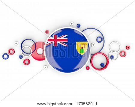 Round Flag Of Turks And Caicos Islands With Circles Pattern
