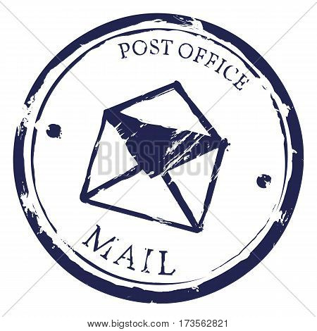 Vector Single Mail Stamp. Post Office Print.