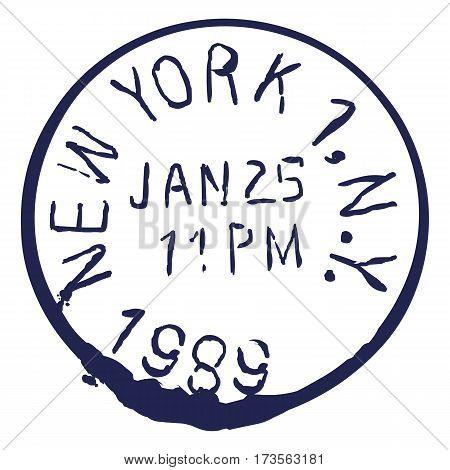 Vector Us Postal Stamp. New York Post.