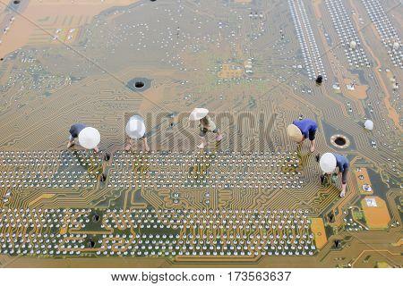 Fun Figurine Peasants On Pc Board