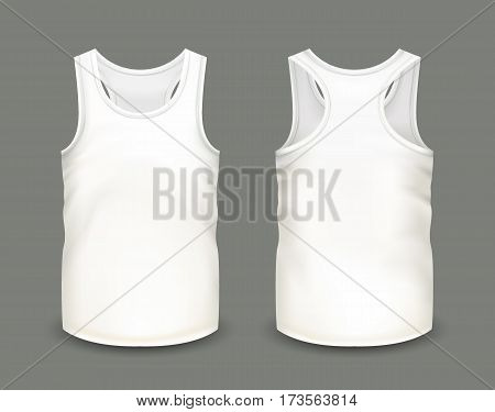 Men's white tank top without sleeves in front and back views. Vector illustration with realistic male shirt template. Fully editable handmade mesh. 3d singlet used as mockup for prints or logo design.