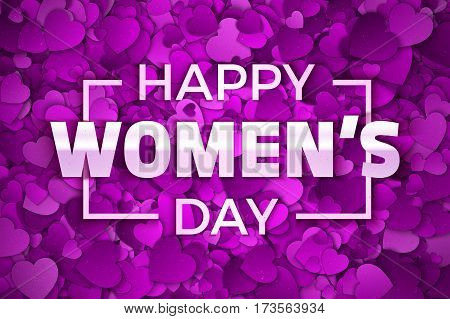 Happy Women's Day Vector Illustration. Typographic Design Text. Abstract Purple and Violet 3D Hearts Dense Structure Pattern with Subtle Texture