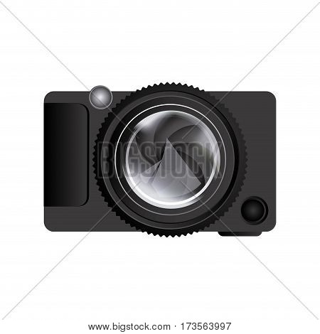 realistic silhouette color with analog camera vector illustration