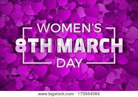 Happy Women's Day 8th March Vector Illustration. Typographic Design Text. Abstract Purple and Violet 3D Hearts Dense Structure Pattern with Subtle Texture
