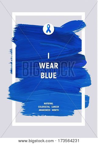 COORECTAL Cancer Awareness Creative Grey and Blue Poster. Brush Stroke and Silk Ribbon Symbol. National Cancer areness Month Banner. Blue stroke and text. Medical Design.