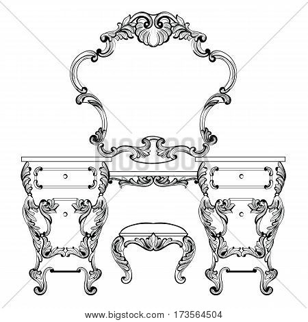 Fabulous Baroque Console Table and Mirror frame set. Vector French Luxury rich carved ornaments. Victorian wealthy Style furniture decor