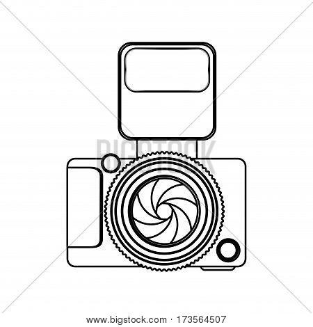 monochrome contour of analog camera with flash light vector illustration