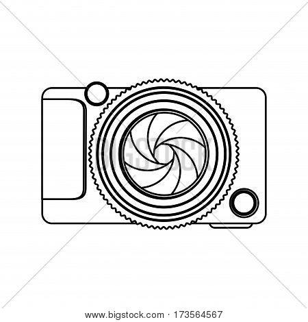 monochrome contour of analog camera vector illustration