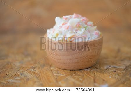 Fresh coleslaw salad made of white cabbage and carrots