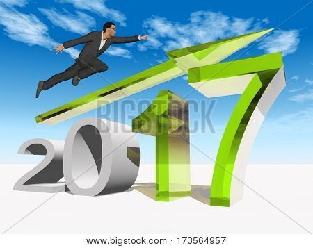 Conceptual 3D illustration human, man or businessman flying  over an green 2017 year symbol with an arrow on blue sky white background