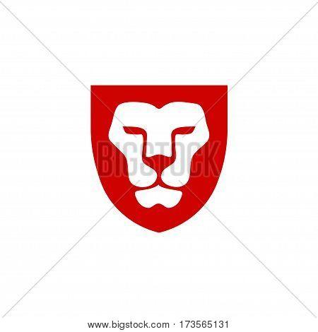 Lion head with shield vector- vector sign concept illustration. Lion head logo. Wild lion head graphic illustration. Design element.