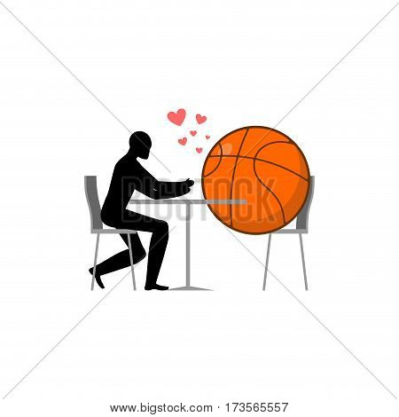 Lover Basketball. Ball And Guy In Cafe. Lovers In Restaurant. Romantic Date. Love Sport Play Game