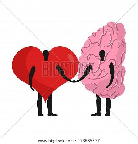 Brain And Heart Friends. Friendship Love And Reason