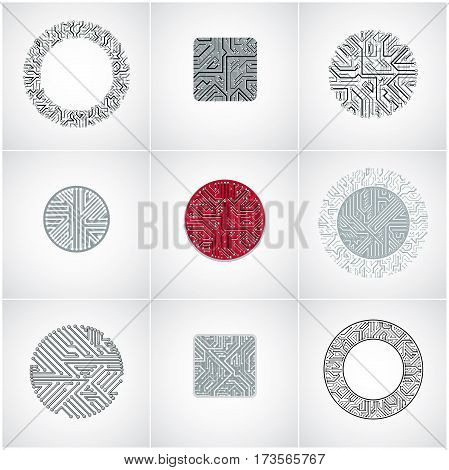 Collection of vector microchip designs cpu. Information communication technology elements circuit boards in the shape of square and circle.