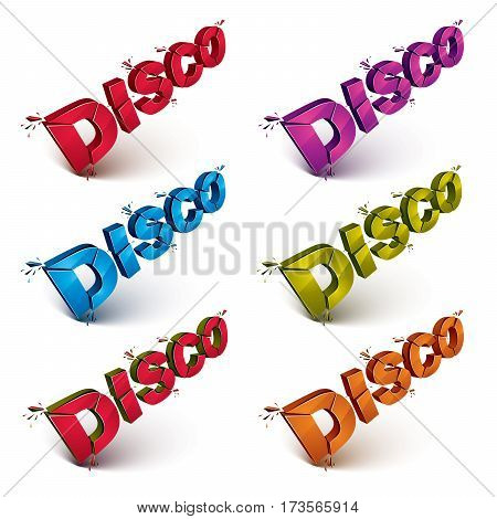Set Of 3D Disco Words Broken Into Pieces, Demolished Vector Design Element. Shattered Art Stylish In