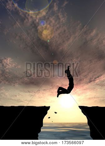 Concept or conceptual 3D illustration young man or businessman silhouette jump happy from cliff over water gap sunset or sunrise sky background