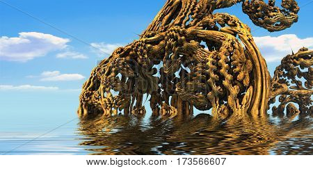 3D illustration of virtual scenery with old trees submerged in water