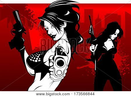 beautiful girl in a black shorts with two guns vector